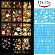 138 Pcs Snowflake Window Clings Decal Stickers For Christmas Holiday Decorations