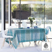 New Garnier-thiebaut Thousand Lace Turquoise Coated Tablecloth