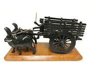 Unique Hand Carved Horn Farmer With Cow Ox Tumbril Cart Figurine Statue Sculptur