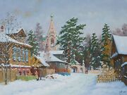 Kostroma. Winter Day By Alexandrovsky Original Oil Painting Russian 24x31 Inche