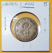 Vintage Heads I Win Tails You Loose Flip Coin. Token Naked Women Erotica.