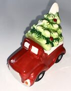 Red Truck And Christmas Holiday Tree Shaped Salt And Pepper Shakers Ceramic New