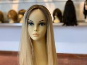 100 European Processed Human Hair Blond Wig With Lace Front 24 Long