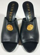 Versace Kith Black Leather Medusa Mules Shoes Gift