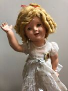 18andrdquo Antique Ideal Compo Shirley Temple Doll 1936 Fao Schwartz Floral Dress Pin S
