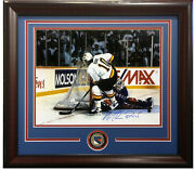 Mike Richter Signed 16x20 Stanley Cup Save Photo Vs Bure Framed Rangers Auto Jsa