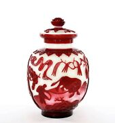 1900and039s Chinese Ruby Red Overlay Peking Glass Cover Ginger Jar Vase Farmer Oxen
