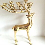 Brass Christmas Reindeer Candle Holder 10 Candle Holder 18.5 Tall Beautiful