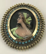 Limoges Portrait Pendant Brooch 18k Gold And Turquoise French Enamel