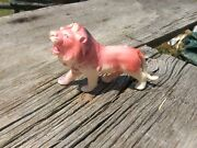 Pink Celluloid Lion Occupied Japan Great Colors Rare Animal