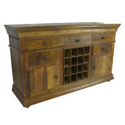65 L Traditional Sideboard 5 Drawers Wine Rack Recycled Wood Dental Carving