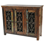 51 W Sideboard Rustic Paint Recycled Solid Wood Iron Detail Doors Traditional