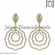Genuine Pave Diamond Vintage Earrings Style Solid 14k Yellow Gold Jewelry Gifts