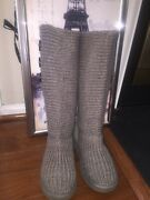 Ugg S/n Classic Cardy Women Knit Boots Gray 5819 Size Us 7