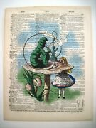 Vintage Book Plate Of Dictionary W/ Alice In Wonderland W/ Caterpillar