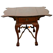 Antique Game Pembroke Table Victorian Chippendale Drop Side Mahogany Chess Inlay