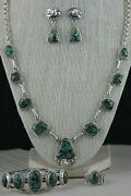 Navajo Turquoise And Sterling Silver Necklace Set - Raymond Delgarito