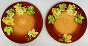 Lot Of 2 Gates Ware Dinner Plate Grape Leaves Fall Colors Yellow Green Red