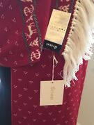 Brioni Scarf Ivory/black/red Reversible Patterned, Fringed Edges,wool,italy,