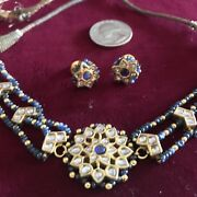 Mughal Jewelry 22k Gold Topaz Necklace Earring Suite India Wedding Bridal