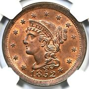 1852 N-1 Ngc Ms 65 Rb Tcc1 Braided Hair Large Cent Coin 1c