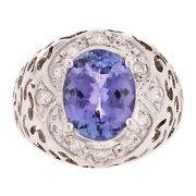 14k White Gold 0.44ctw Tanzanite And Diamond Floral Open Work Ring Size 7