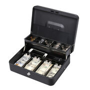 11.8 Cash Box With Money Tray Lock Large Steel 5 Compartment Key Black Tiered
