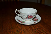 Vintage Victoria Rose Pattern Cup And Saucer C E England Bone China