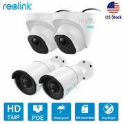 4pcs Reolink 5mp Poe Ip Security Camera 100ft Night Vision Sd Card Slot W/ Audio
