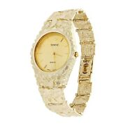 10k Yellow Gold Nugget Link Geneve Wrist Watch Adjustable 8-8.5 54 Grams