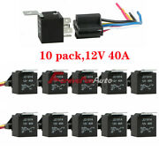 10 Pack 12v 30/40 Amp 5-pin Spdt Automotive Relay With Wires And Harness Socket