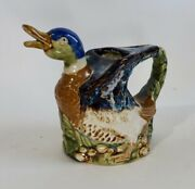 Vintage Blue Brown Porcelain Duck Pitcher Decanter Watering Can Water Fowl Decoy