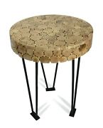Thai Side Table / Coffee Table, 58cm High Driftwood, Branch Cross Section