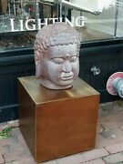 Large Old Or Antique Japanese Stoneware Buddha Head Sculpture