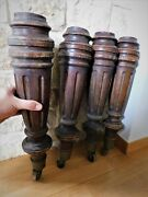 19th C Antique Set Of 4 Table Legs With Brass Caster Wheels 21.6x 5 Thick