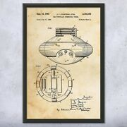 Framed Jacques Cousteau Submarine Wall Art Print Submarine Decor Diving Gift
