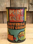 Wow Vintage 1933 Pure Gold 1lb Universal Grease Tin Can Pep Boys Graphics Sign