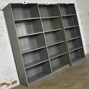 Trio Of Industrial Steel Bookcase Shelving Painted Gray Andndash Green Great Patina Vin