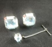 Vintage Swank Silver Tone Cufflinks And Tie Tack Set With Ice Blue Stones.