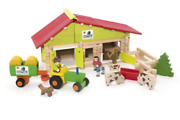 Jeujura J8053 140 Pieces Comte Barn With Tractor, Farmers And Animals,