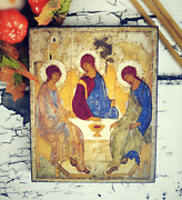 Large Orthodox Icon Holy Trinity - Russian Wooden Icon By Andrey Rublev