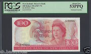 New Zealand 100 Dollars Nd 1967-68 P168as Specimen Perforated About Uncirculated