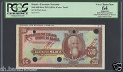 Brazil 200 Mil Reis Nd 1936 Color Trial P82ct Choice New Uncirculated