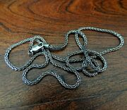 Sterling Silver Oxidized Wheat Necklace Chain For Pendants 1.6mm .925 Silver