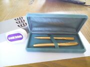 Vintage Waterman Pen Fountain Pen Gold Tip 18k + Ball Pen And Lined Gold Plated