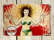 Electrically Alive 1960's By Sideshow Banner Painter Snap Wyatt Metal Tin Sign
