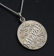 Sterling Silver Mizpah Ivy Vine Charm Medallion Protection Pendant And Necklace