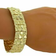 Menand039s Solid 14k Yellow Gold Nugget Bracelet 7 21.5mm 55-56.5 Grams
