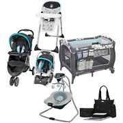Combo Boy Stroller With Car Seat Blue Travel System Playard Baby Swing Chair Bag