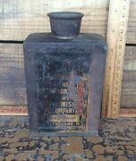 Metal Flask The Colony Paint And Varnish Company Advertising Ohio Antique Shabby
